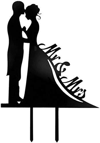 Mr & Mrs Bruid & Bruidegom bruidstaart Topper Acryl Dag Silhouette