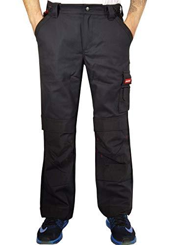 Weichers Herren Cargo Arbeitshose Bundhose Montagehose Sicherheitshose Schutzhose Arbeitskleidung Arbeitsschutzbekleidung mit Kniepolstertaschen und verstärkten Nähte (62-W46/L35, Schwarz 000D)