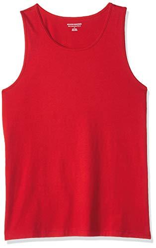 Amazon Essentials Herren Trägerhemd Slim-Fit, fester Stoff, rot, M