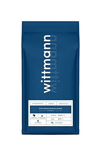 WITTMANN® Kaffeehausmischung (1kg) Ganze Kaffeebohnen - Ideal Für Siebträger, Kaffeevollautomaten, French Press & Filterkaffee - Traditionelle Trommelröstung - Schokoladig & Nussig, Säurearm