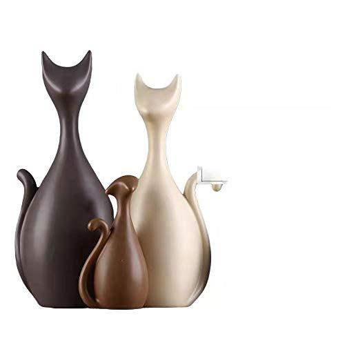 BALALALA Adornos de cerámica de la Familia de Cuatro Gatos, Estilo Moderno y Elementos Decorativos creativos