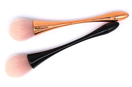 Ranvi Pinceau de maquillage Large Powder Mineral Brush, convient à la large couverture Blush en poudre lâche Base liquide Brosse de polissage mixte 2 pièces (noir, or)