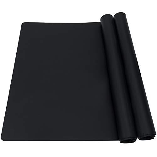 Extra Large Silicone Mats for Baking Crafts, 2 Pack Multipurpose Kids Dinner Placemat Desk Countertop Waterproof Protector Heat Insulation Kitchen Pastry Rolling Dough Pad, Black, 23.6 x15.75 Inch