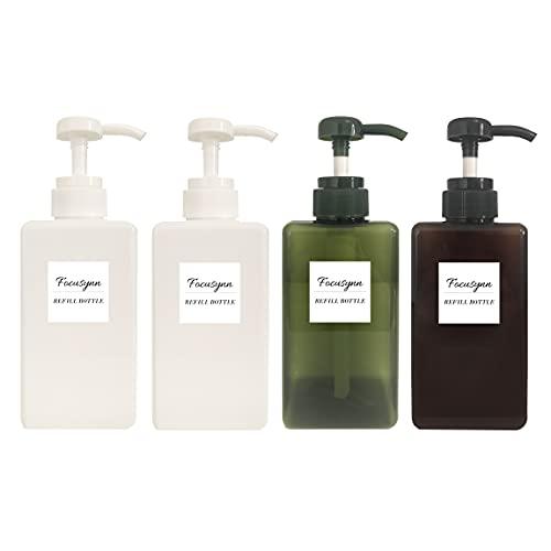 Focusynn Botellas dispensadoras de Jabón 450ml. Botellas de Bomba de Plástico, Recipientes vacíos rellenables para Jabón, Champú, Detergente Líquido (4 Piezas)