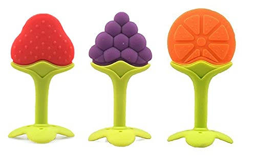 Cuckoos Baby Teether Fruit Shape Silicone Teether for 6 to 12 Months Baby BPA Free (Combo Saver Pack of 3)