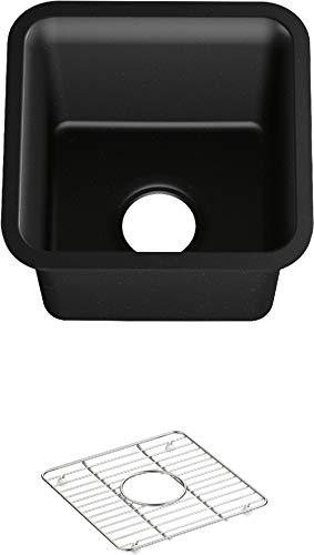 KOHLER K-8223-CM1, Matte Black Carin 15' x 15' x 9-1/2' Neoroc under-mount bar sink, 18' Minimum Base Cabinet Width