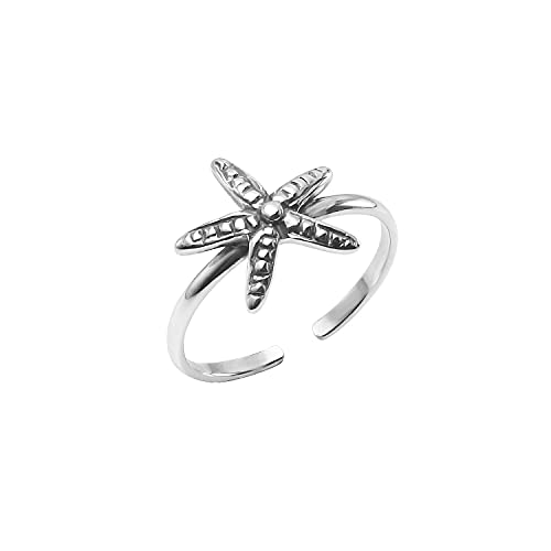 Big Apple Hoops - Summer Jewelry Real Silver Toe Ring, Adjustable Oxidized Sterling Silver Starfish Toe Ring