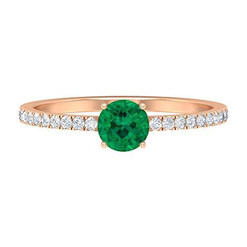 Anillo de compromiso de diamante HI-SI de 5 mm de turmalina verde, anillo de compromiso de oro solitario para mujer, 18K Oro rosa, Size:EU 64