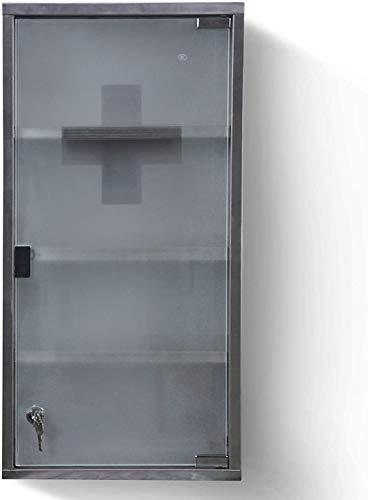 NOVA Armadietto per Farmaci con 4 Ripiani Porta di Vetro con 2 Chiavi, 30x60x12cm, Acciaio, da Bagno - Armadietto Pensile Medicinali, Armadio Pronto Soccorso