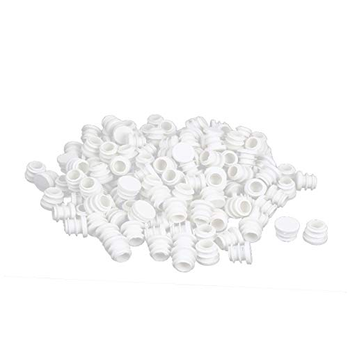 New Lon0167 16mm Dia Featured Plastic Blanking End Reliable Efficacy Cap Round Ribbed Tube Insert White 200pcs(id:26e bd 0a cb2)