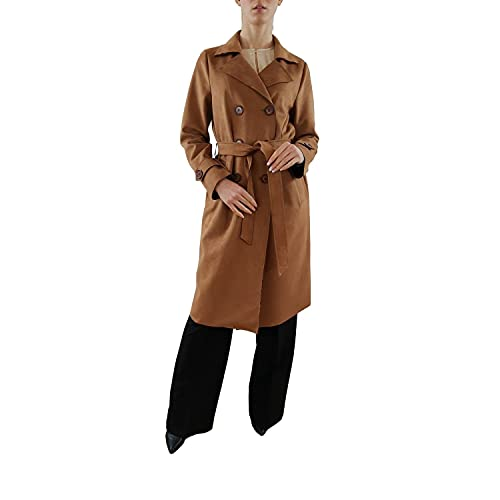 Paola Sormani Abrigo de ante sintético con cinturón, clásico, marrón, talla: 48