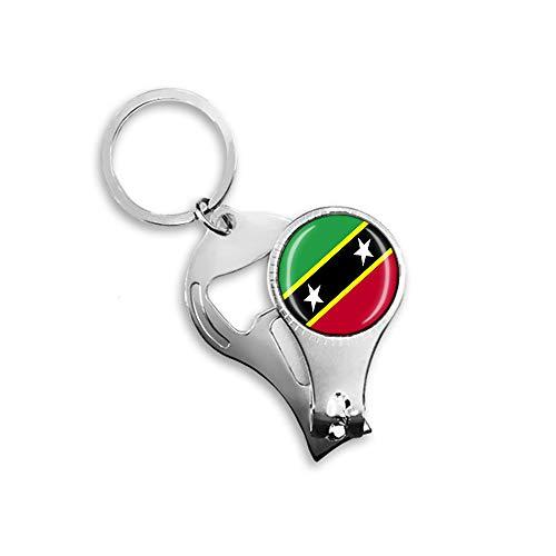 Saint Kitts & Nevis Flagge Bierflaschenöffner Nagelknipser Metall Glas Kristall Schlüsselanhänger Reise Souvenir Geschenk Schlüsselanhänger Zubehör