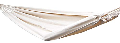 AMANKA XXL 2 Personen Hängematte Beige 400x160cm Belastbarkeit bis 150 KG 100% Baumwolle Mehrpersonen Hängematten