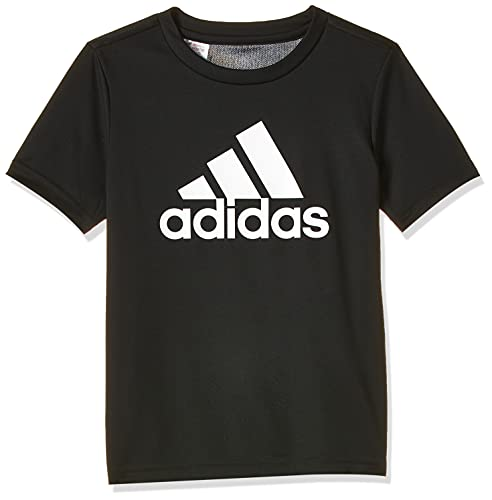 adidas Jungen Designed to Move Big Logo T-Shirt, Black/White, 176
