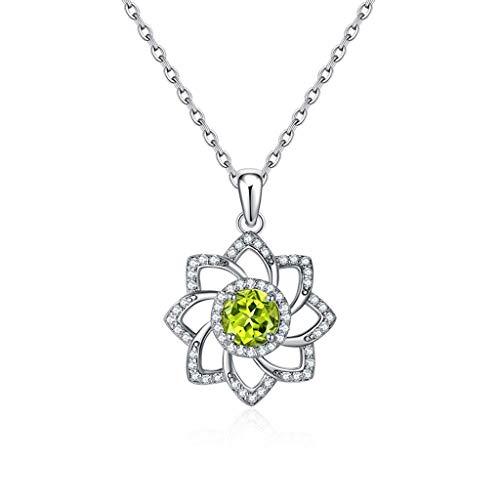 YXDEW Collar Colgante de Suerte Collar de Cadena 925 de Plata esterlina Peridot PERIDANTE Pendiente Collares Collares para Mujeres con Collar de Cadena de 18 Pulgadas para Mujeres honrada