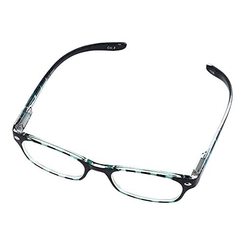 首に掛けられる老眼鏡 ネックホールド 首掛け 携帯用 ブルーライトカット (ブルーグリーン, 度数:+2.50)東レ トレシー クリーニングクロス セット
