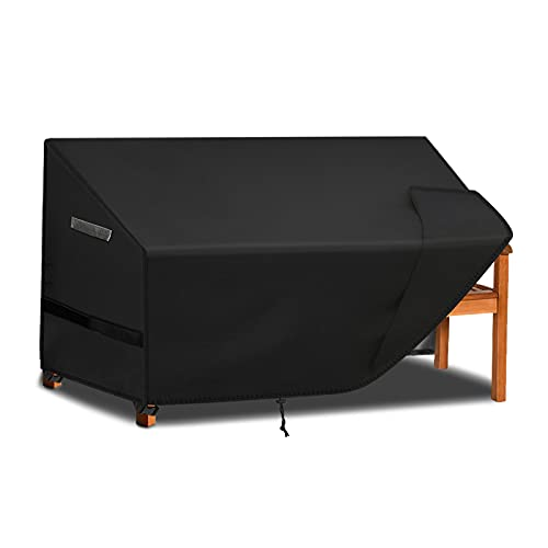 Callni Housse imperméable pour banc de jardin 4 places, coupe-vent, anti-UV, résistant aux déchirures, 600D Oxford très résistant, 190 x 66 x 63/89 cm, noir
