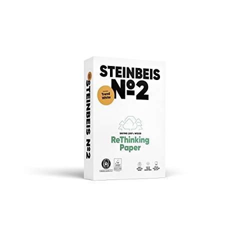 Steinbeis N°2 Trendwhite, Papier reprographique, 100% recyclé, teinte naturelle, 80g, A4, Ange Bleu, ramette de 500 feuilles 445359 Blanc