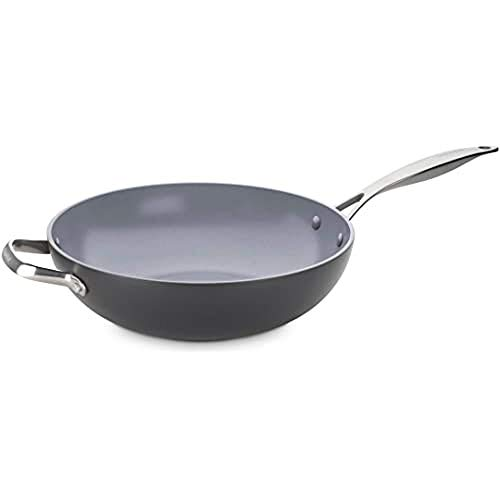 GreenPan Wok with Two Handles, Non Stick Toxin Free Ceramic Open Wok Pan - Induction & Oven Safe Cookware - 30 cm, Grey