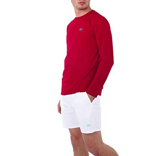 Sportkind Jungen & Herren Tennis, Fitness, Sport Longsleeve Shirt mit Rundhalsausschnitt, atmungsaktiv, UV-Schutz UPF 50+, Bordeaux rot, Gr. 128