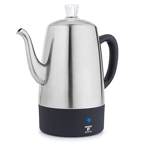 Moss & Stone Electric Coffee Percolator   Silver Body with Stainless Steel Lids Coffee Maker   Percolator Electric Pot - 10 Cups (Silver)
