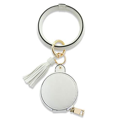 GREEN&RARE Llavero de cuero, pulsera con forma de círculo, para auriculares, monedero con espejo de maquillaje, ideal para el día de San Valentín, regalo de un amigo