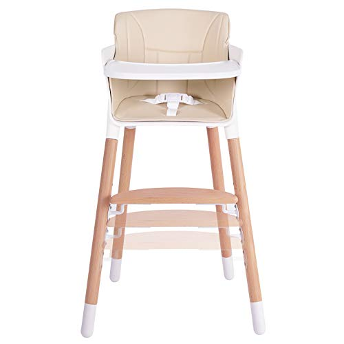 Tiny Dreny Wooden Baby High Chair | High Chair for Babies and Toddlers | 3-in-1 Baby High Chair Grows up with Family | Highchair with Adjustable Footrest and Removable Tray and Cushion