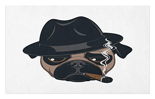 ABAKUHAUS Cigarro Tapete, Retrato Fresco de la Historieta del Perro del Barro Amasado, Decorativo con Fieltro de Poliéster Estampado Base Antideslizante, 45 cm x 76 cm, Marrón Negro Blanco