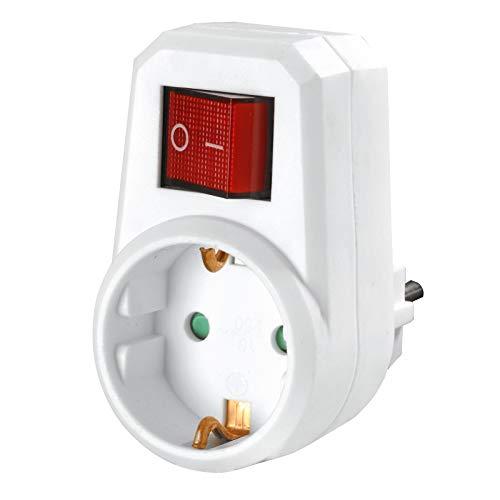 HEITECH 1 fach Steckdosenadapter mit Kindersicherung - GS & TÜV geprüfter Zwischenstecker mit Schalter - Adapterstecker