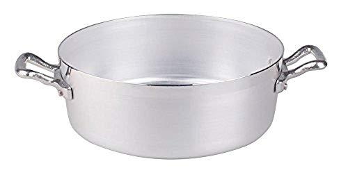 Ollas Baja cazuela Agnelli, Aluminio BLTF, con 2 Asas en Acero Inoxidable, Plata, 30 cm