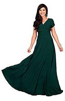 KOH KOH Womens Long Cap Short Sleeve V-Neck Flowy Cocktail Slimming Summer Sexy Casual Formal Sun Sundress Work Cute Gown Gowns Maxi Dress Dresses Emerald Green L 12-14