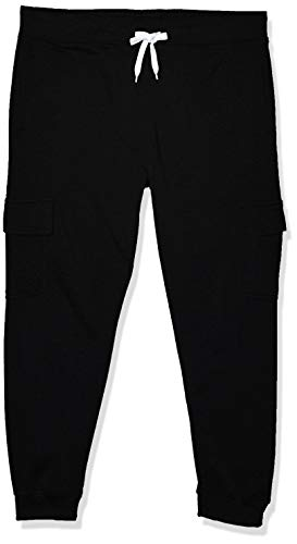 Southpole Men's Active Basic Jogger Fleece Pants, Black (Cargo), Large