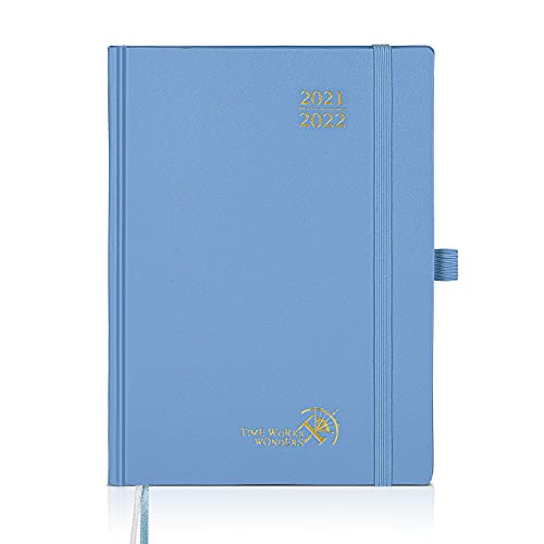 Agenda 2021 2022 Semana Vista Aprox. A5 - Agenda Escolar 2020-2021 (agosto 2021 - agosto 2022) con Páginas de Notas y Dirección, 16,5 x 22 cm, Azul Neblina