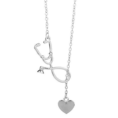 Collar De Estetoscopio En Forma De Corazón Y EstetoscopioLariatColgante Médico Cuidado Estudiante Regalo Enfermera Collar Joyería Femenina