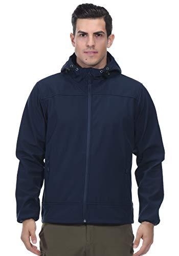MIER Herren wasserdichte Taktische Jacke Leichte Softshelljacke Mantel mit Kapuze, Fleece gefüttert & Reißverschluss vorne, Herren, Marineblau, XX-Large