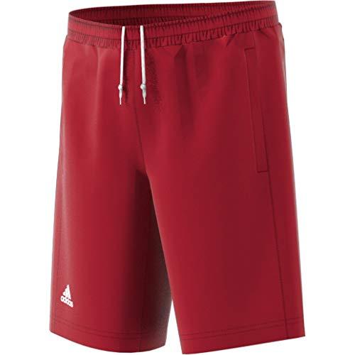 adidas Pantaloni Corti T16 CC per Bambini, Colore: Rosso/Bianco, 128