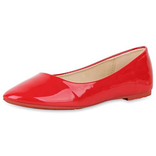 SCARPE VITA Damen Klassische Ballerinas Elegante Slip On Schuhe Lack Slipper Flache Abendschuhe Flats Glitzer 181587 Rot Lack 37