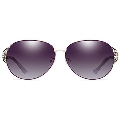 Stella Fella Polarizado Versátil Elegante Diamante Colorido UV400 Gafas De Sol Tendencia Púrpura Damas Gafas De Sol
