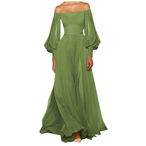 Lazzboy Kleider Damen Winter Langarm Chiffon Vintage Kleid Party Cocktailkleid Abendkleid Rockabilly Taillenbetontes(Grün,XL)