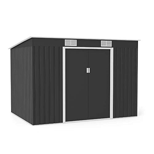 BillyOh Cargo Dark Grey Hot-Dipped Galvanized Pent Metal Garden Storage Shed (9x6)