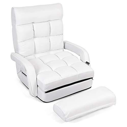 GOPLUS Klappbarer Bodenstuhl mit Armlehnen und Kissen, Comfort Mehrwinkel-Sessel aus Baumwolle, Faules Schlafsofa mit Verstellbarer Rückenlehne für Schlafzimmer, Wohnzimmer, Büro (Weiß)