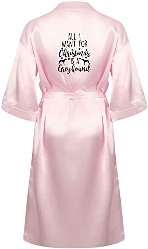 Flox Creative Robe de chambre en satin All I Want Christmas Greyhound - Rose - S
