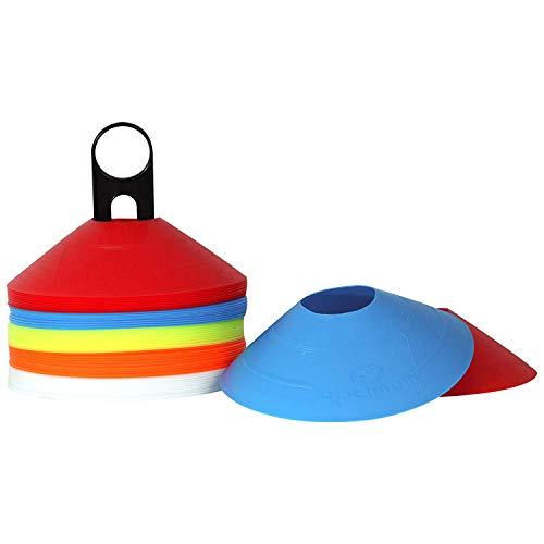 OPTIMUM Marcadores óptimos 50 Unidades, Disco, Conos de Agilidad para Entrenamiento y Deportes, Incluye Soporte, Unisex-Adult, Multicolor, Talla única