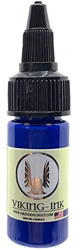 VIKING INK - Encre de Tatouage - BLUE 0.5oz (30ml) - Les meilleures couleurs et noirs - Vegan