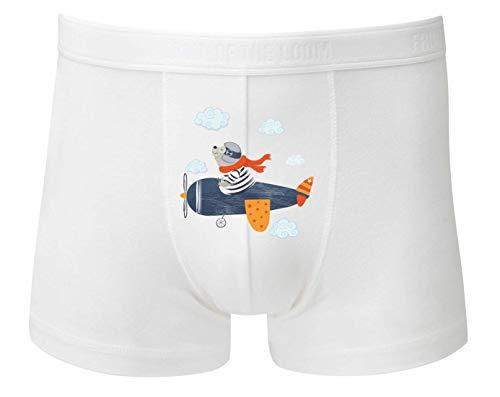 Druckerlebnis24 Boxershort - Flugzeug Bär Wolke Zirkus - Unterhose für Herren und Männer