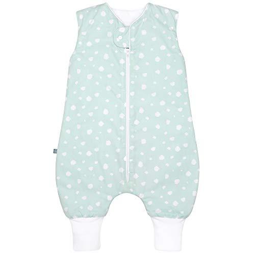 *Premium Baby Winter Schlafsack mit Füßen, Großzügige Bewegungsfreiheit, Flauschig Weich, 100% natürliche Baumwolle, für 15-21°C Grad – 2.5 TOG, Größe: 70cm, Design: Punkte Mint von emma & noah*