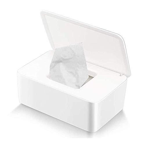 TOCYORIC Caja para Toallitas Húmedas, Dispensador de Toallitas Humedas, Caja de almacenamiento de pañuelos con tapa, Caja de almacenamiento de pañuelos a prueba de polvo para Oficina en casa (Blanc)