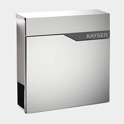 Zalafino Briefkasten mit Beschriftung des Namen - RARITÄT – individualisierbarer Design Briefkasten aus Edelstahl mit Zeitungsrolle - Model Kayser