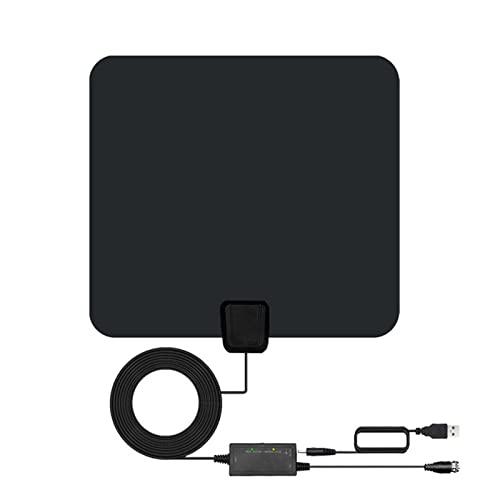 Antena HDTV Interior, Antena TV Digital Rango de 150 Millas, Ultra Plana Antena TV Interior, con Amplificador Señal para 4K 1080p VHF UHF TDT DVB-T, con 5 Metros de Cables de Alto Rendimiento