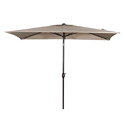 Abba Patio Rectangular Patio Umbrella Outdoor Market Table Umbrella with Push Button Tilt and Crank for Garden, Lawn, Deck, Backyard & Pool, 6.6 by 9.8 Ft, Beige